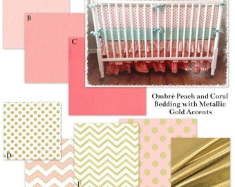 Twin Girl Bedding in Coral, Blush Pink and Metallic Gold Custom Baby Girl Crib Bedding Set - The Ombre Glitz Collection