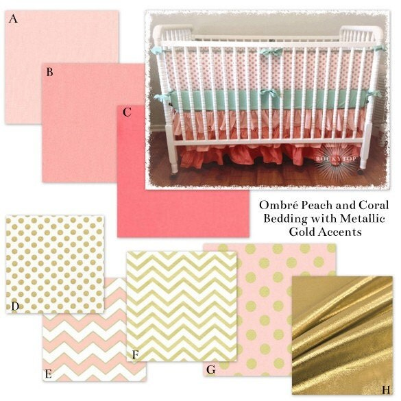 twin girl bedding in coral blush pink and metallic gold. Black Bedroom Furniture Sets. Home Design Ideas