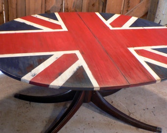 Fabulous Union Jack flag OVAL Dining Table rustic British chic style