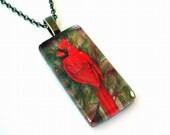 """Red Cardinal Bird School Team Mascot Rectangular Art Glass Antique Brass Necklace 18"""" Chain"""