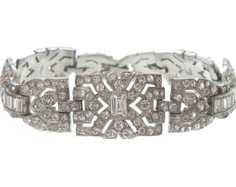Vintage KTF Art Deco Bracelet, Trifari Designer, Statement Bracelet, 1930s Art Deco Jewelry, Wedding Jewelry, Vintage Jewellery