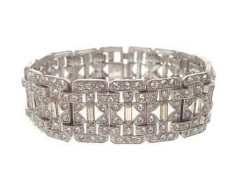 Wide Vintage Art Deco Bracelet, Baguette Octagon Rhinestone Link, 1920 Art Deco Wedding Jewelry