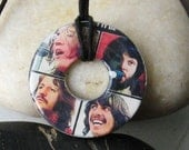 BEATLES Album cover Upcycled Papers Washer Hardware Pendant Necklace 60's Let It Be