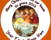 Baby Jesus with Angels with your Family Name Stickers