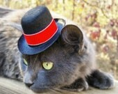 Hat for Cats, Dogs, Bunnies - Festive Elegant Hat with Red Velvet and SilverTrim