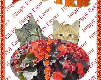 Card Easter with Begonia Egg and Two Kittens