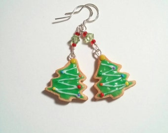 Christmas tree sugar cookie earrings