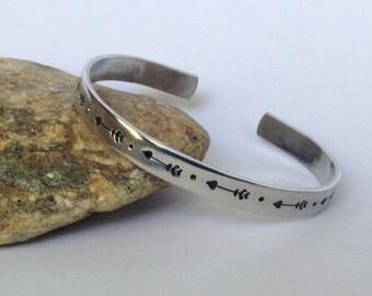 Arrow cuff, Arrow heart stamped bracelet, arrow jewelry, heart jewelry, arrow stamped cuff