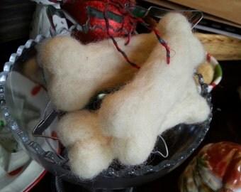 Needle Felted Dog Bone Christmas Ornament