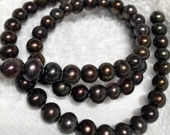 "Freshwater Pearl round potato pearl Black Brown pearl---AA 6-7mm Full Strand 15"" 70pc  #RS2056"