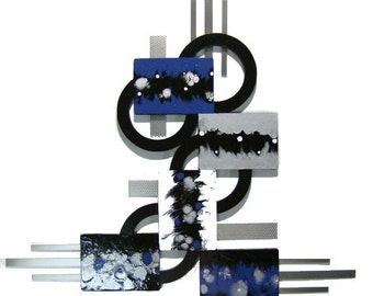 Blue Casa Abstract Wood and metal Wall Sculpture, Modern Contemporary wall hanging,  unique Wall Decor, home and office by DAS