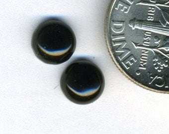 BLACK ONYX  6mm Round Cabochons -  Four Pair  (Eight Cabochons)