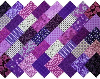 """40 4"""" Fabric Squares PURPLE 20 Patterns Quilting Charms"""