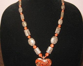 Brown Snowflake and Red Jasper Necklace with Lampwork Glass Heart 23""