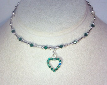 Swarovski Crystal and Silver Necklace - Shown in Emerald - Available in Any Birthstone