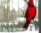 cardinal bird / stained glass window corner/ top right corner position