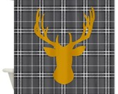 Deer head shower curtain in orange on gray black and white plaid background