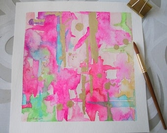 Watercolor Pink Abstract Art Print-Pink Painting-Archival Print-Giclee Reproduction of Watercolor-Wall Art