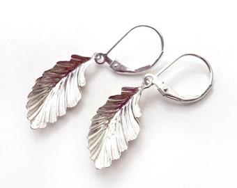 Feather Earrings - Sterling Silver Feather Charm - Leverback Earrings - 925 - Delicate Leaf Earrings
