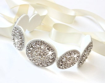 Sash - Glamorous Rhinestone Bridal Belt Sash - Custom Satin Ribbon - Rhinestone Appliqué - Silver Wedding Dress Belt - Extra Long
