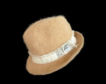 "Women's Wool Angora Fedora, Vintage style Fedora Hat in Camel Tan - ""I Adore a Fedora"""