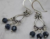 Chandelier Earrings with Navy Blue Swarovski Crystals