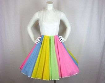 Vintage 1960s Pastel Rainbow Cotton Dress, Sz S