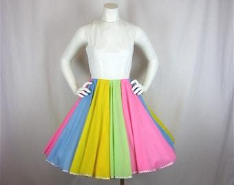 Vintage 1960s Pastel Rainbow Cotton Dress, Sz S