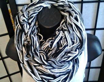 Knitted Infinity Scarf White Black and Gray