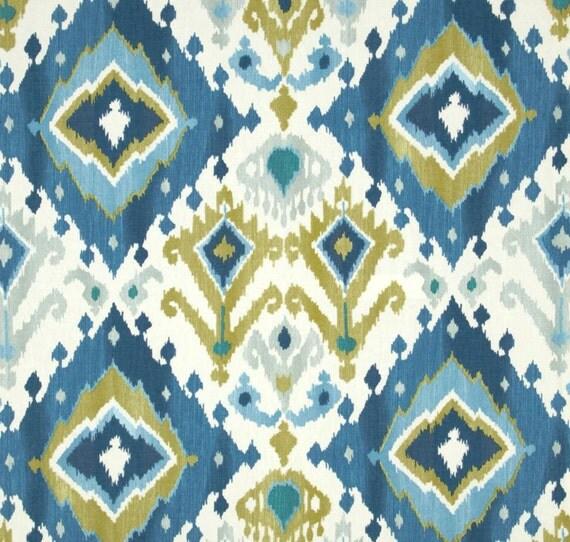 Blue Ikat Window Curtains Blue Curtain Panels Medallion
