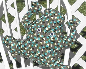 Frog Olive Green Lavender Robins Egg Blue Light Yellow Black Dotted Cotton Canvas Pillow Adult Toy Stuffed Animal Handmade
