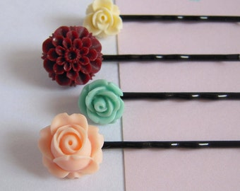 Floral Bobby Pins, Rose Hair Clips, Peach, Cream, Burgundy, Teal, Flower Hair Pin Set Of Four, Shabby Wedding Accessories