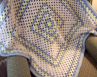 Lg Granny Sq Soft 38 x 38 Sq White Blue Yellow Baby Blanket Toddler Baby Shower