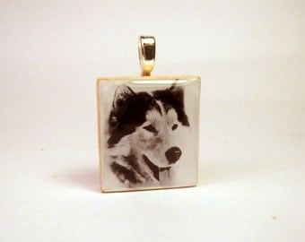 Husky Necklace / UPCYCLED / Scrabble Pendant  / Charm / Dog Jewelry / Unusual Gifts