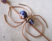 Purple Lampwork Glass Hammered Copper Spider Sweater Pin Shawl Broock