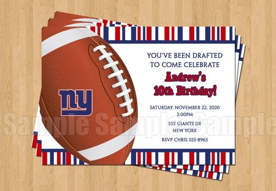 New York Giants Football Birthday Bachelor Party Invitations – Dallas Cowboys Party Invitations