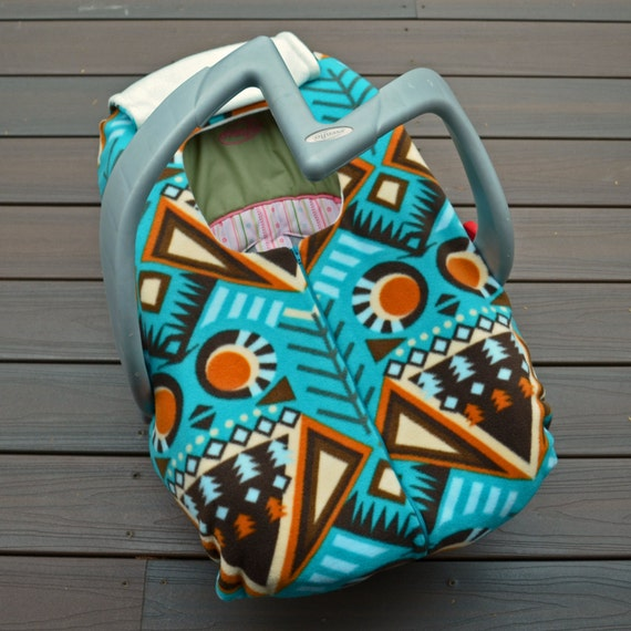 Reserved For Maggie Baby Car Seat Cover In Teal Rust Ivory