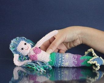 Crochet Amigurumi Mermaid, 11 inch, Ariel Little Mermaid inspired Doll, Nautical fantasy figurine with aqua blue hair, OOAK handmade dolls