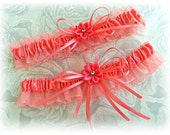 Weddings, Coral Reef bridal garter set.