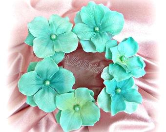 Aqua Blue Flower Hair Pins, Set of Six Hydrangeas Flowers - Weddings Bridal Bridesmaid Hair Accessories,