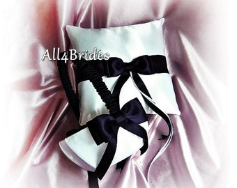 Weddings black and white ring bearer pillow and flower girl basket, ceremony ring cushion and basket set.