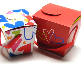 20 Hearts Embellished Gift Boxes with red satin ribbon