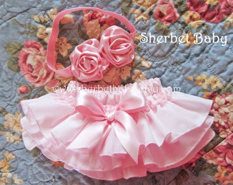 Headband Double Ribbon Roses with Pink Original Sassy Pants Ruffle Diaper Cover Bloomers