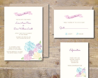 Printable Watercolor Wedding Invitations, DIY Wedding Invitations, Peonies Wedding Invitations, Roses, PDF, JPEG, Print At Home - Peonies