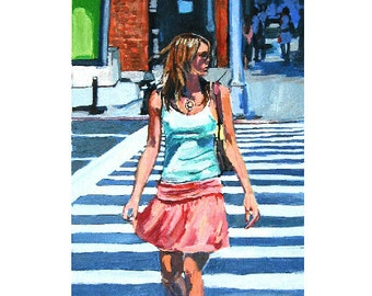 Figurative Painting, Girl in pink skirt,  Summer In New York, New Yorker  Crosswalk Street scene, blue pink  Figurative Art by Gwen Meyerson