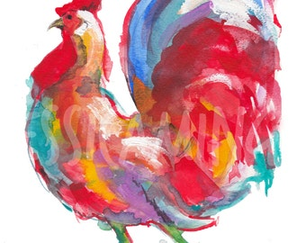 merry rooster, rooster watercolor painting, rooster statement print, rooster art print, rooster kitchen art, watercolor farm animals,