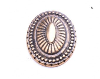 Oval button, flat back, Gold plated , plated plastic, 09818AG