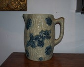 PITCHER Jug Antique Stoneware Whites Utica American Blue Flowers