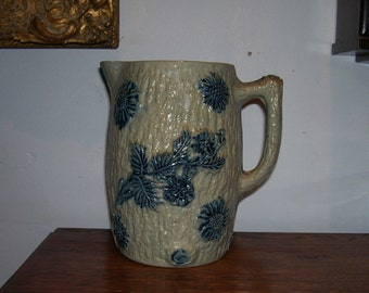 Antique Stoneware Jug Pitcher Blue Flowers Whites Utica USA 19th Century 1800's