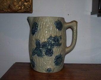 Stoneware Jug Pitcher Antique Blue Decorated Cornflower Rustic Tree Bark Whites Utica NY American Pottery